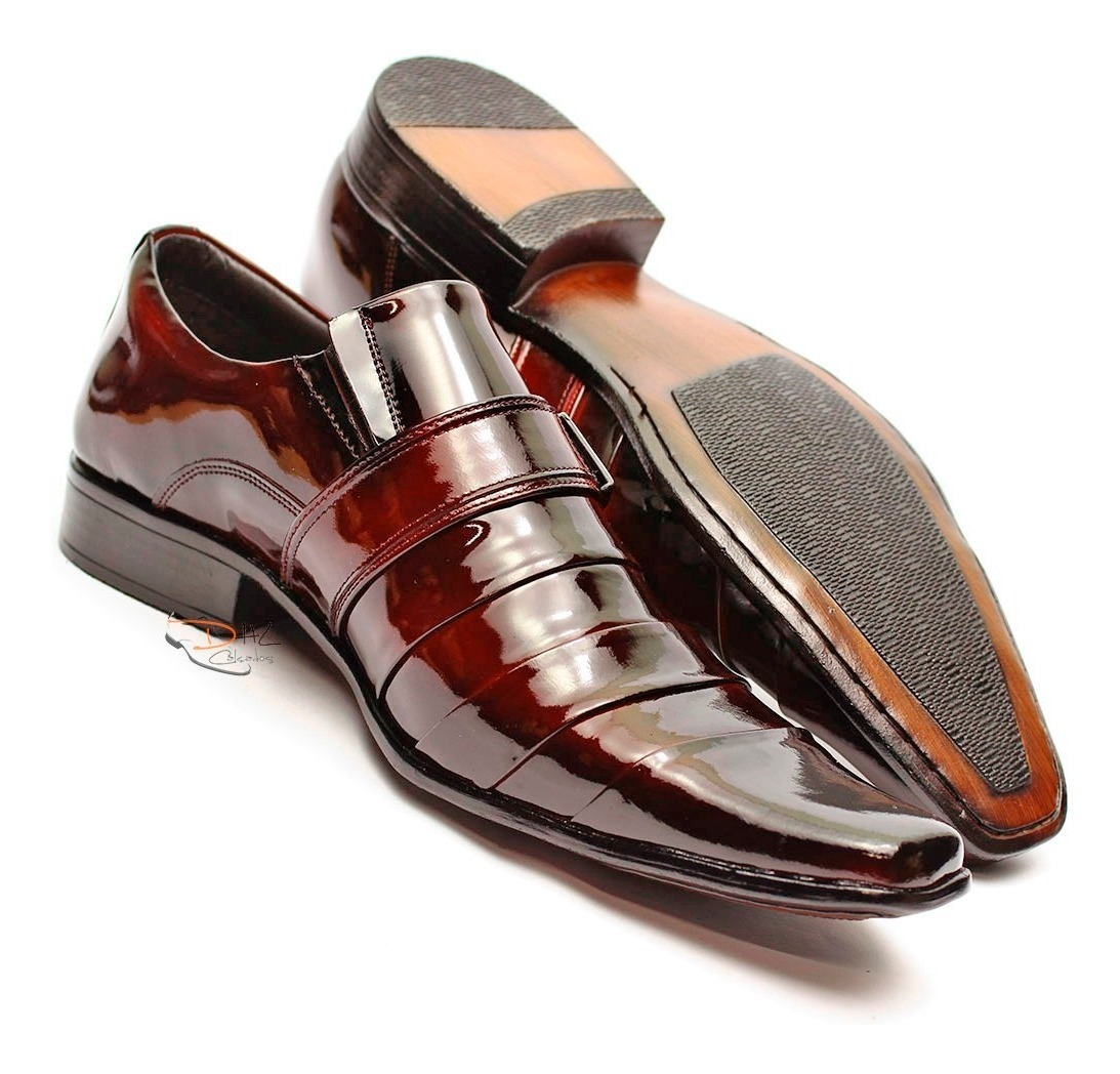 ed0eb545c9 sapato social masculino verniz alto brilho couro franca dhl. Carregando zoom .