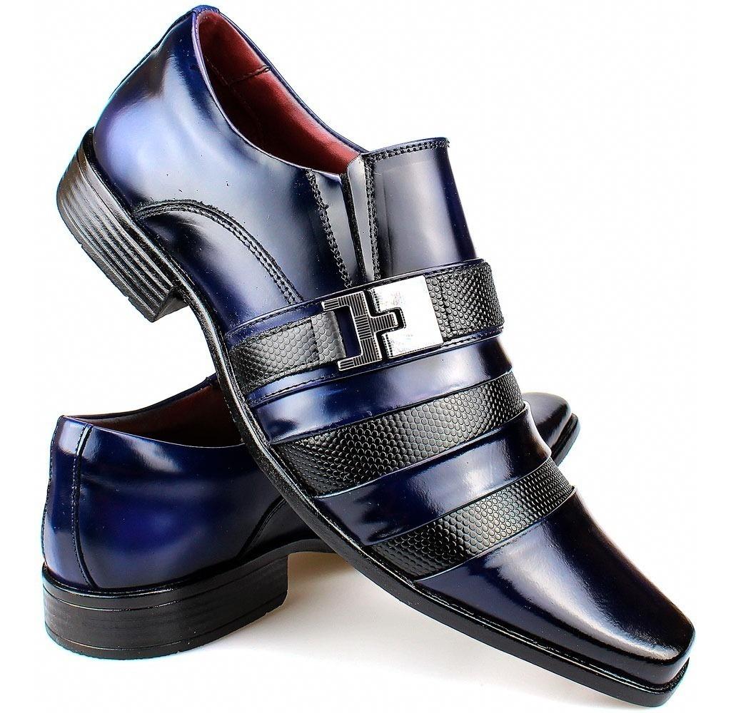 509413f5b sapato social masculino verniz azul lançamento 100%couro. Carregando zoom.
