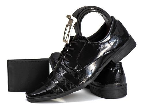 sapato social masculino verniz c/ cinto + carteira em 12x