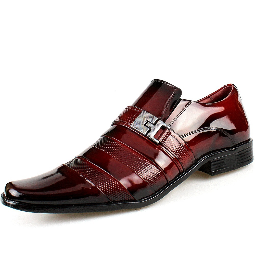 fc197540d Sapato Social Masculino Verniz + Cinto Vinho Red Luxo - R$ 219,00 em ...