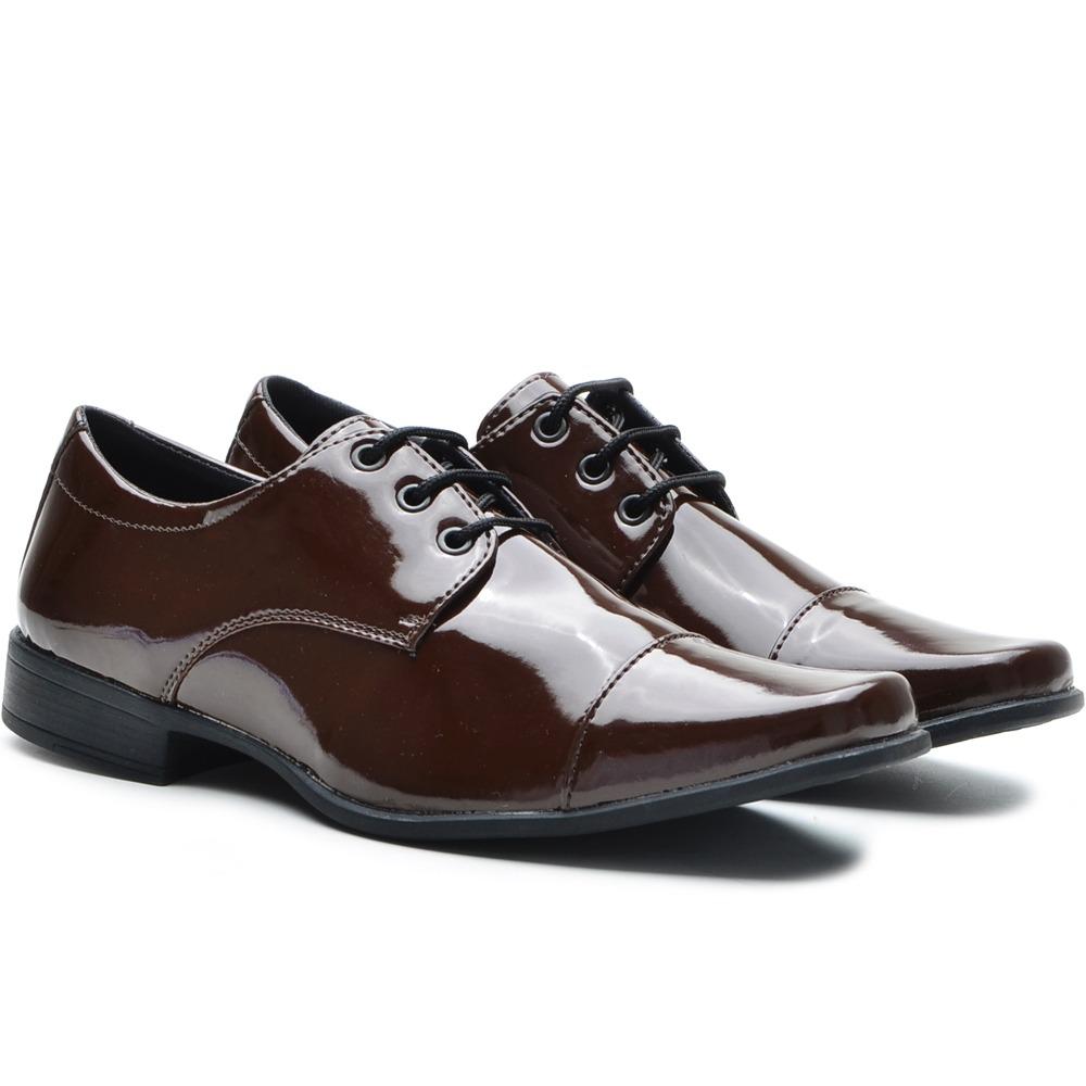 b669387e7b sapato social masculino verniz preto e marrom café ref 703. Carregando zoom.