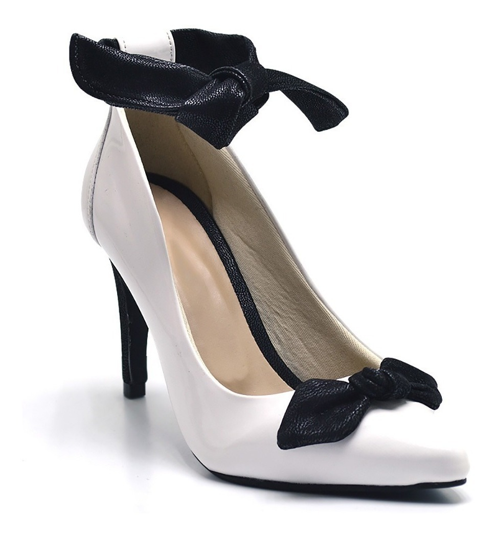 fcacc24a5 sapato social scarpin feminino salto branco laço preto. Carregando zoom.