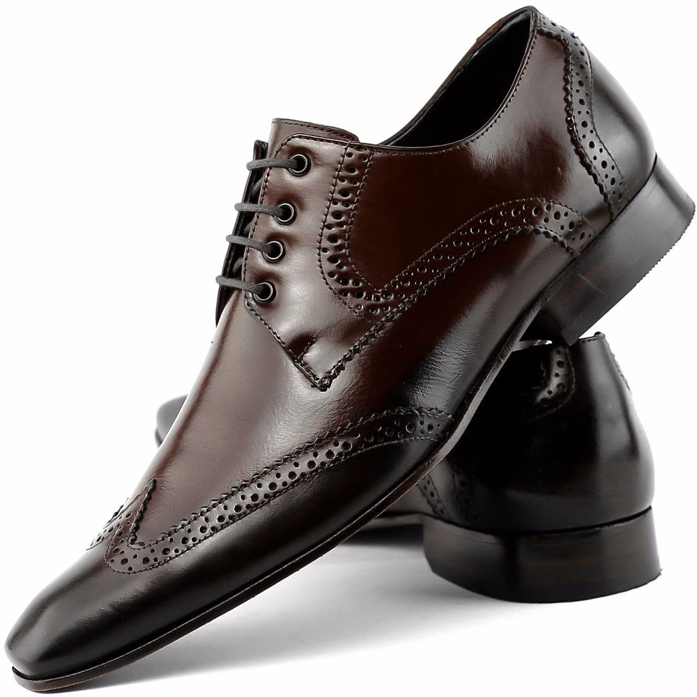 9d55107804 sapato social wingtip masculino solado de couro de amarrar. Carregando zoom.