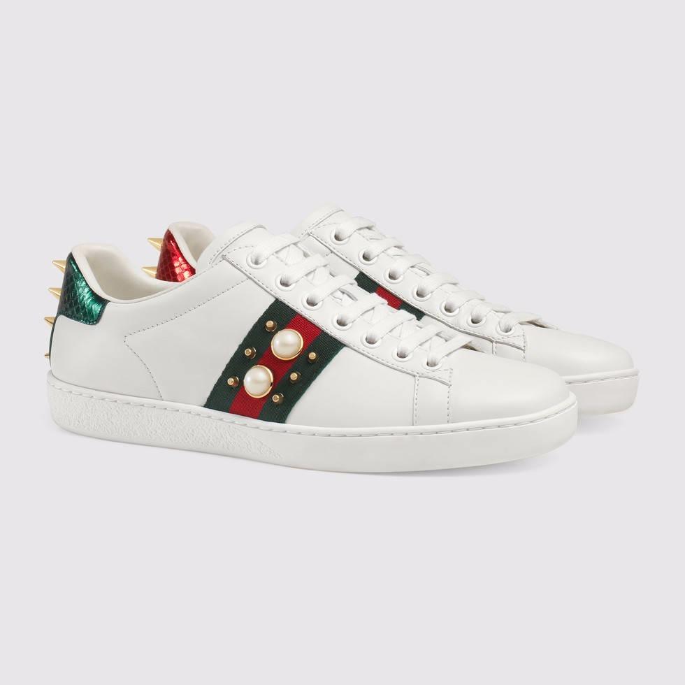 Sapato Tenis Gucci Ace Pérola Feminino   Masculino Couro - R  949,00 ... 5bf3e0724c