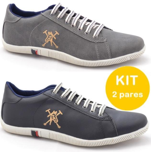 057863b20 Sapato Tenis Masculino Sapatenis Polo Caiman Kit 2 Pares - R$ 149,00 ...