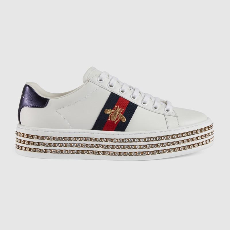 9f6bfa76c Sapato Tênis Gucci Ace Cristais Branco - Pronta Entrega - R$ 1.589 ...