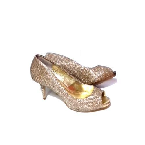 6192a12db Sapato Pep Toe Salto Alto 8 Cm Dourado Fino Festa Feminino - R$ 149 ...