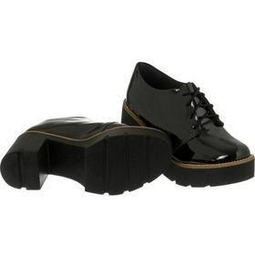 Sapato Verniz Tratorado Oxford Salto Preto
