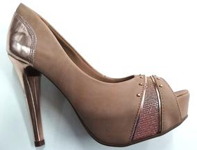 183bc150a Peep Toe Sapato Feminino Creme Via Marte - Sapatos para Feminino no ...