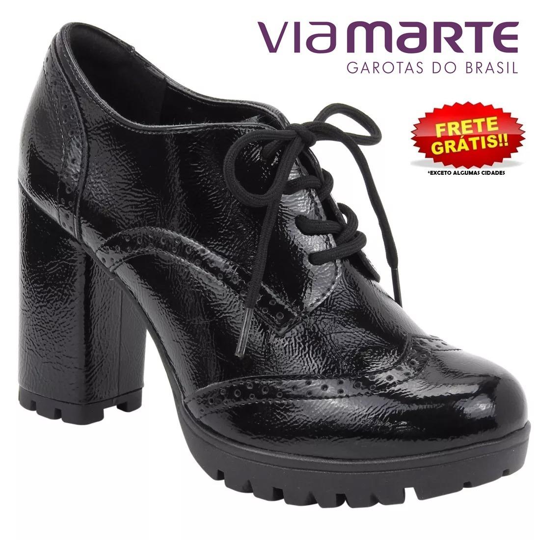 e4e52c2b4 sapato via marte oxford 18-4408 preto verniz feminino. Carregando zoom.