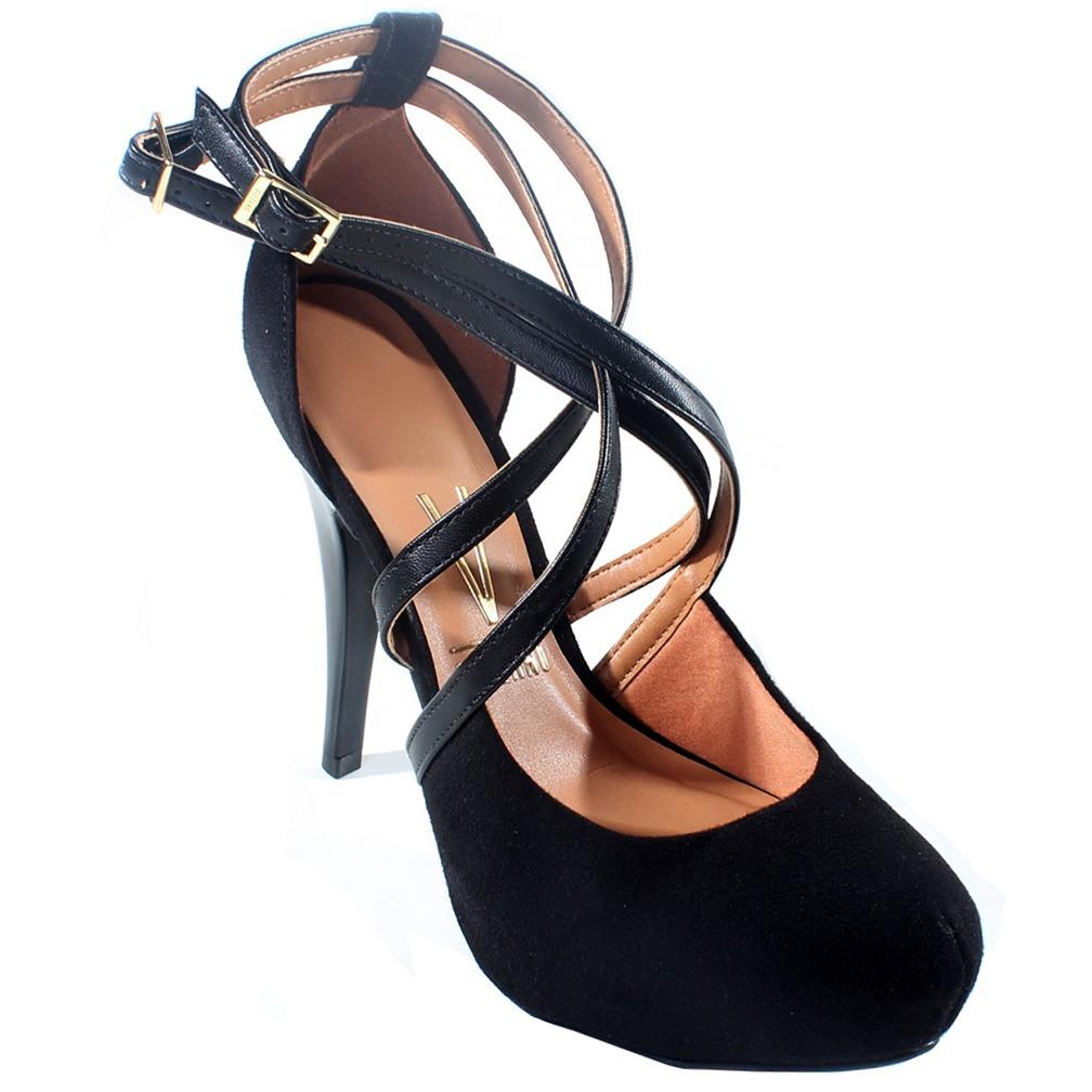 1ab8448964 sapato vizzano meia pata camurça de tiras feminino - preto. Carregando zoom.