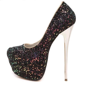 b345d4366 Sapato Salto 16 Glitter Brilho 36 Importado Luxo Preto Festa