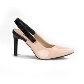 e971197c9 Sapato Chanel Dakota Scarpin Salto Fino Bege Rosado B9813