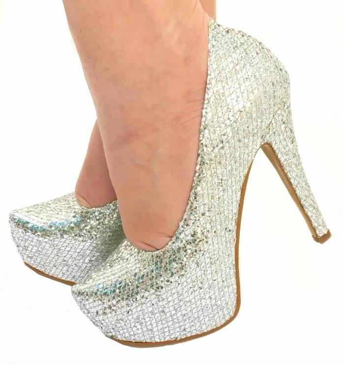 c9f76e8e4 Sapatos Femininos Peep Toe Prata Brilho Festa Salto Alto 513 - R ...