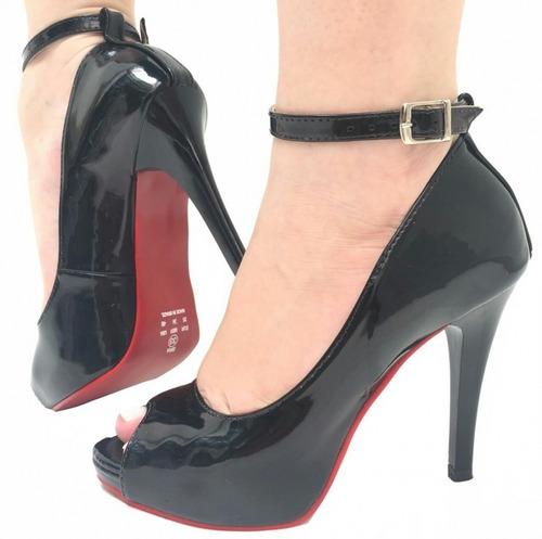 sapatos femininos peep toe salto alto salto fino meia pata