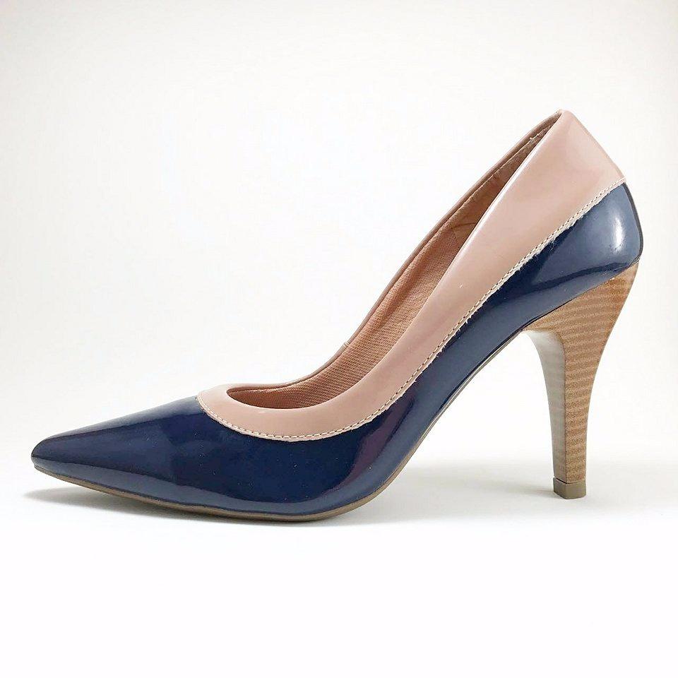 7686fc6a77 sapatos femininos scarpin salto alto - azul marinho. Carregando zoom.