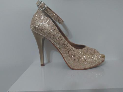 sapatos feminos dourado casamento madrinha debutante ped