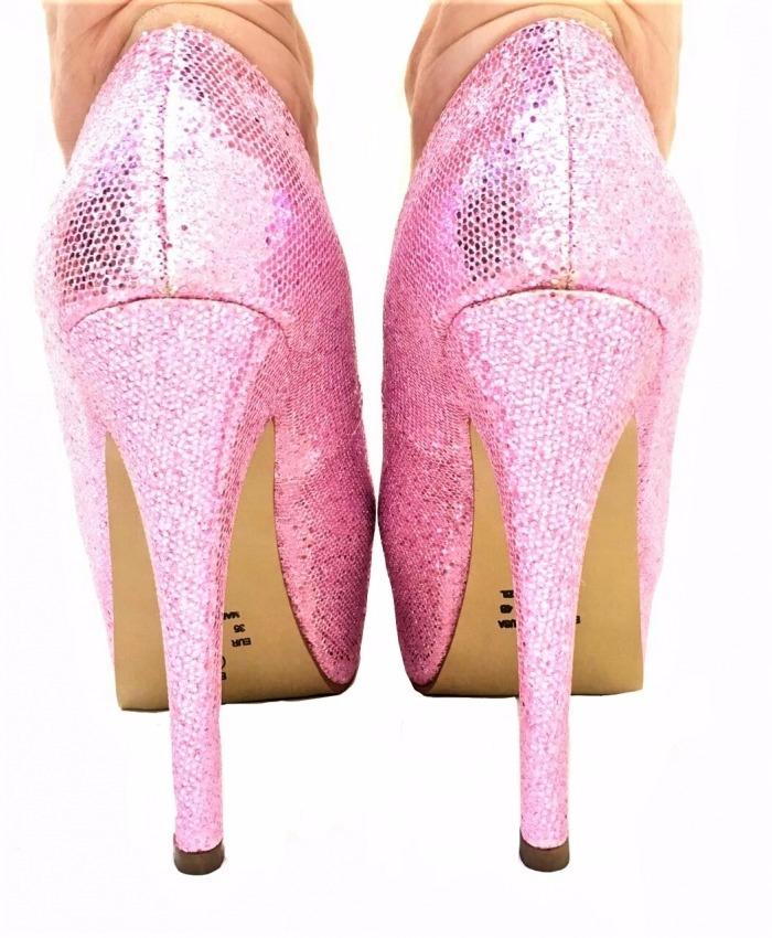 4b7b138ce9 sapatos princesa festa rosa glitter salto alto fino 293. Carregando zoom.