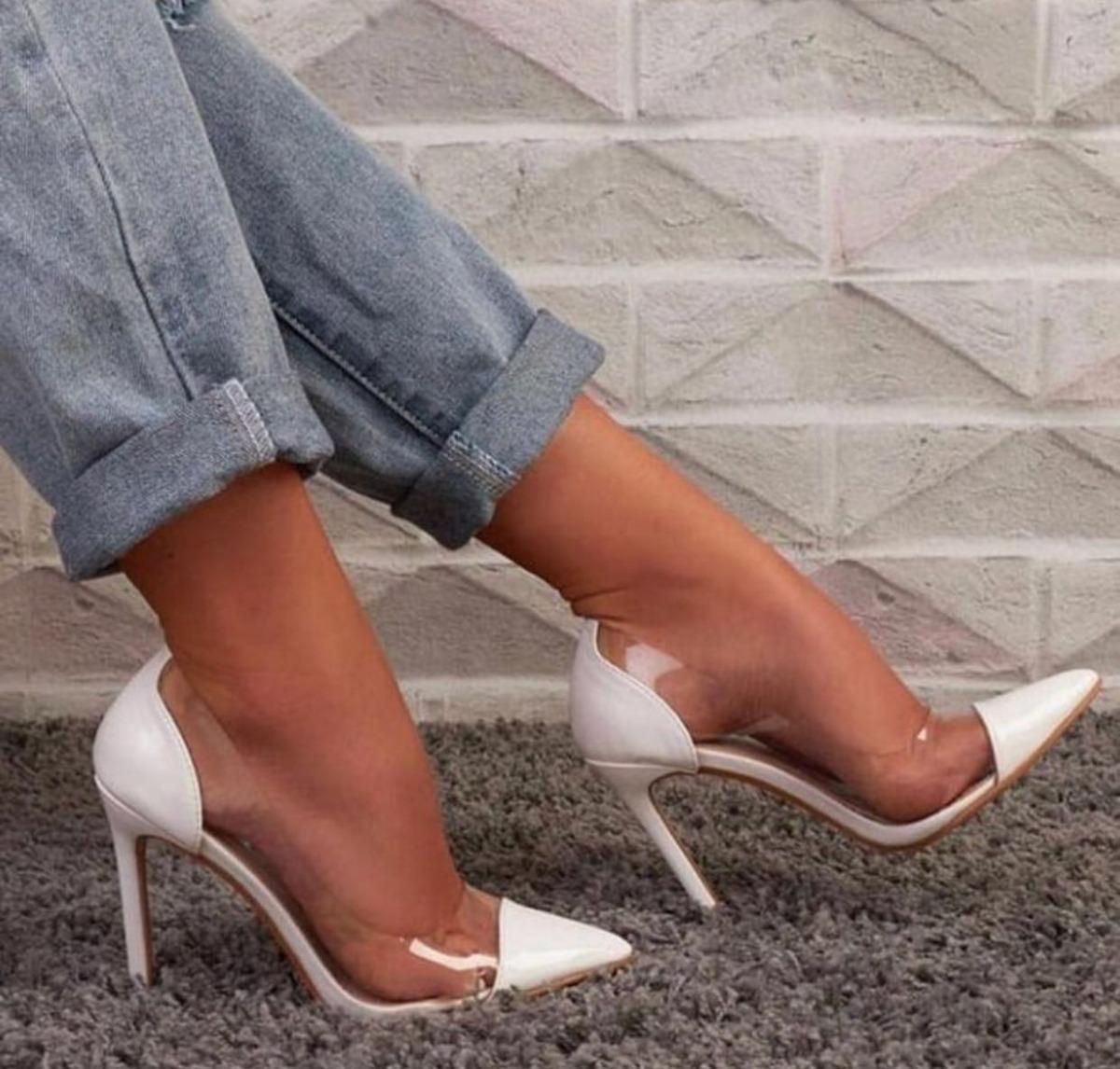 5fc76d7f14 sapatos scarpin branco salto alto 11 cm vinil transparente. Carregando zoom.