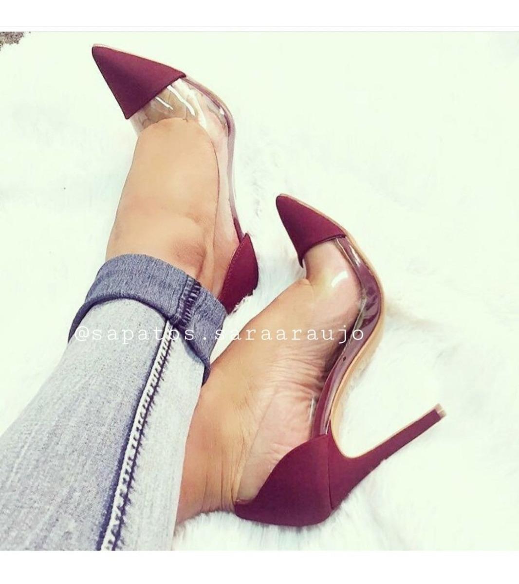 001e8d73d sapatos scarpin vermelho salto alto 11cm vinil transparente. Carregando  zoom.