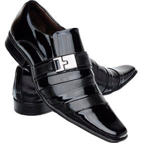 24f1f0cbd Sapato Social Envernizado Preto E Branco Masculino - Calçados ...