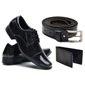 c57a9a3c41618 Sapato Social Masculino Cadarço Verniz Kit Cinto + Carteira