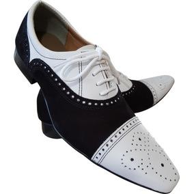 25d5fb794 Sapato Masculino Em Couro Branco Com Preto Camurca Ref  649 · R  289 90