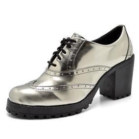 a316813e3 Sapato Feminino Oxford Tratorado Botinha Moda Verniz Bota