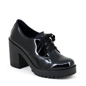 92eb0018f7 Sapato Feminino Oxford Preto Tratorado Barato Lughato