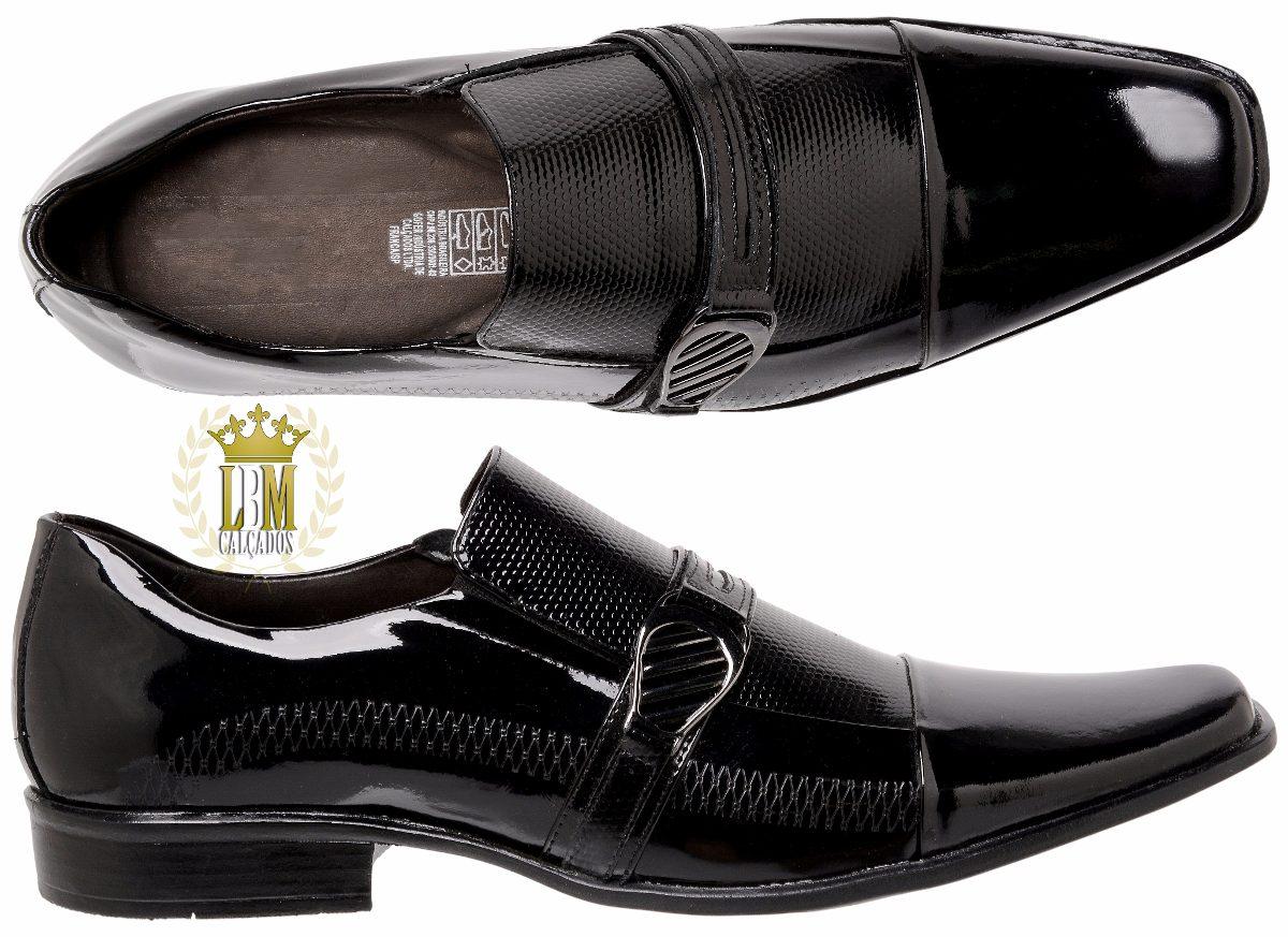 3a44b72377 Sapatos Social Masculino Verniz Preto 100%couro Salto Baixo - R  169 ...