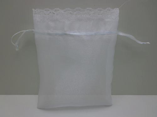 saquinho organza cristal com renda 20cm x 30cm 40 unidades
