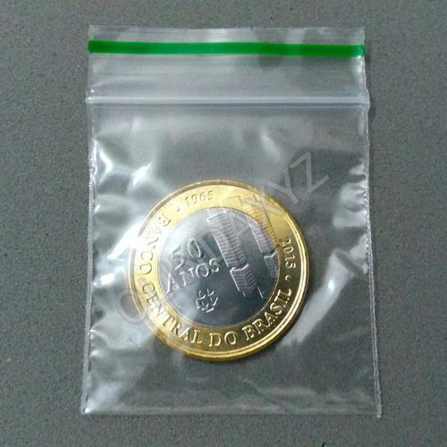 saquinho para moedas zip lock - com ziper - kit com 100 unid