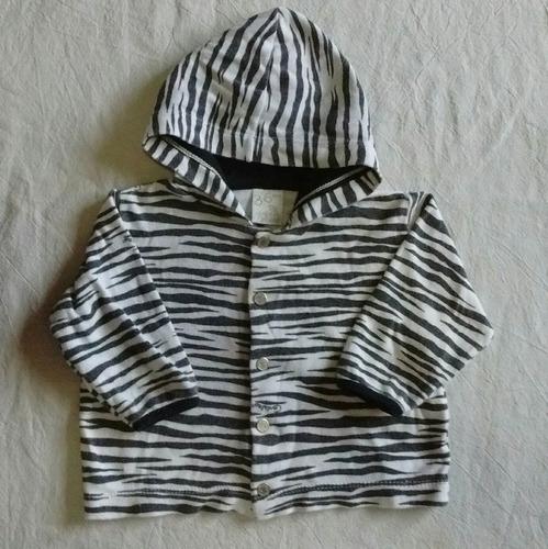 saquito capucha algodón canguro cebra grisino 3-6 m primaver