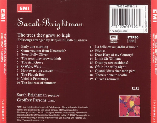 sarah brightman cd the trees they grow so high uk impecable
