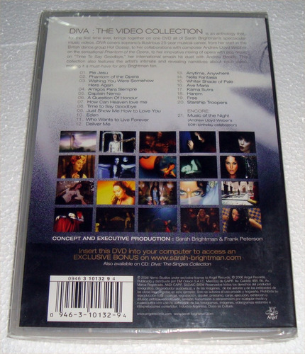 sarah brightman diva the video collection dvd sellado kktus