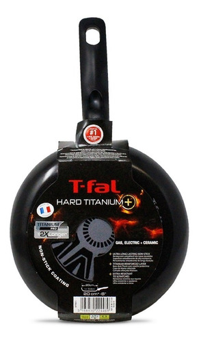 sartén 20cm antiadherente hard titanium negro t-fal b2540282