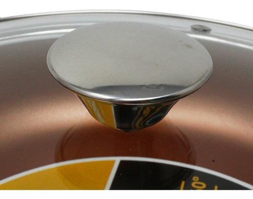 sartén 28 cm cobre int/ext con tapa de vidrio lamex 6660-6