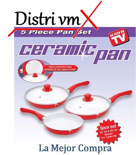 sartenes ceramica juego x 5 piezas ceramic pan antiadherente