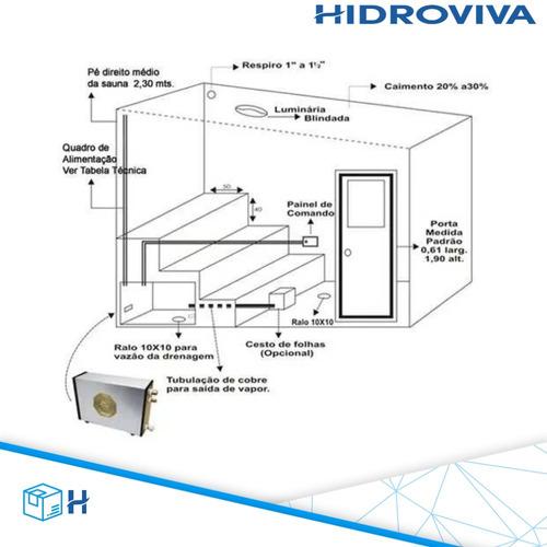 sauna vapor 12kw 220v trif. + porta inox + flexível impercap