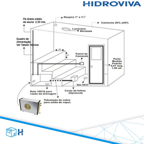 sauna vapor elétrica 12kw inox 380v trifásica dig. impercap