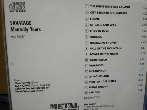 savatage mentally yours live - cd italia rareza