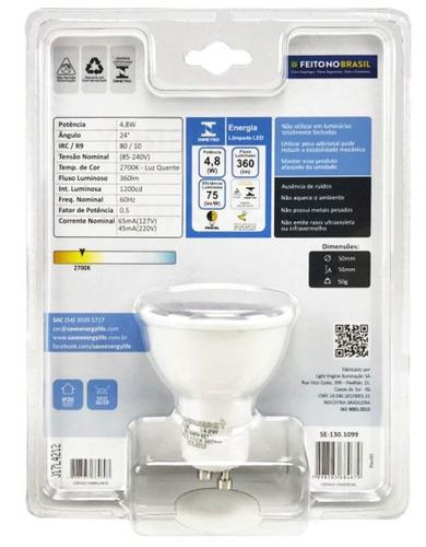 save energy - dicroica led gu10 4,8w 2700k bivolt