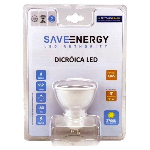 save energy - dicroica led gu10 4,8w 2700k bivolt kit 10pçs