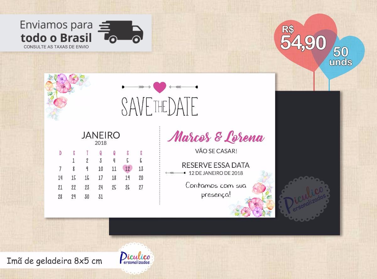 d3cf4141b04 Save The Date Convite Casamento Imã De Geladeira - 50un - R  64