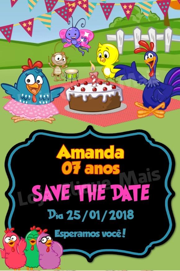 Save The Date Digital Aniversário Galinha Pintadinha Rosa R 1600