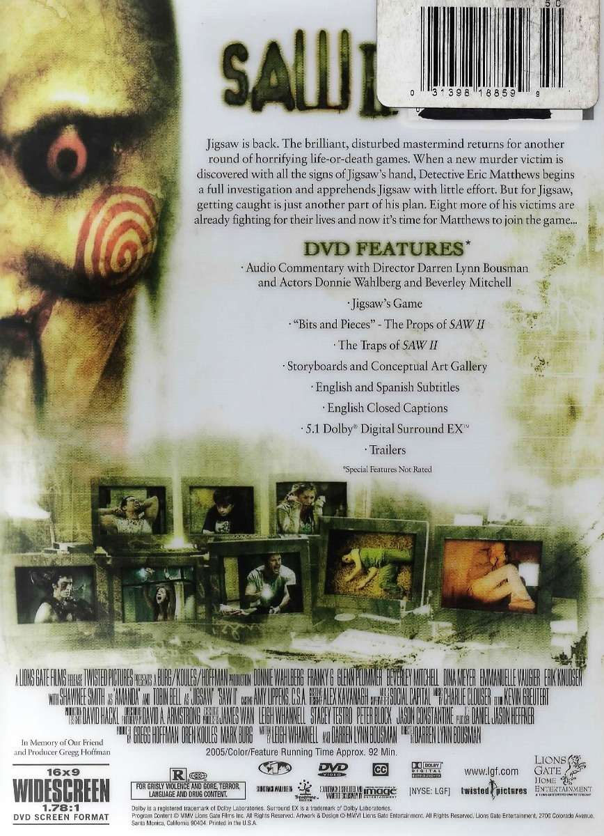 Saw 2 - Ed  Especial - Widescreen - Región 1 - Subitulada - $ 150 00