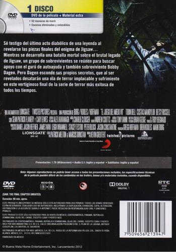 saw el juego del miedo 7 el capitulo final pelicula dvd
