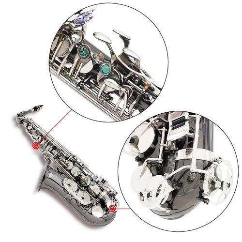saxofon alto negro platinado envio gratis estuche accesorios