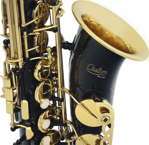 saxofone custom alto preto com chaves douradas + case . loja