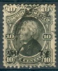 sc 107 año 1874 hidalgo 10 cent negro dist 50 veracruz no. s